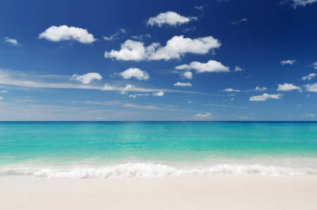 tranquil: Tropical white sand beach and blue sky. Stock Photo