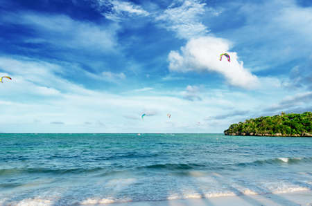 Tropical sea landscape with kite surfers. Stock Photo - 9313864