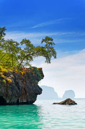 Tropical sea landscape. Thailand, Krabi, Railay beach.