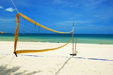 Volleyball net on the tropical beach. Stock Photo - 9314086