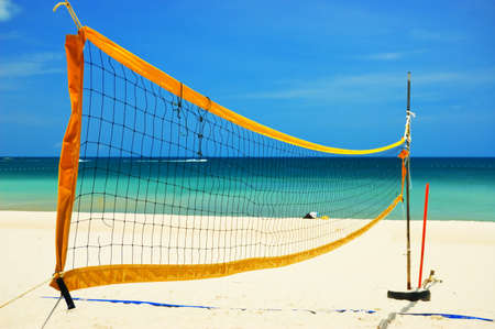 Volleyball net on the tropical beach. Stock Photo - 9314123