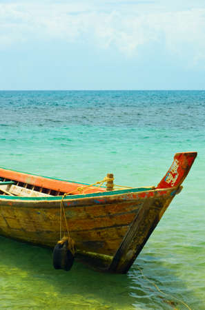 longtail: Traditional thai longtail boat on the beach.