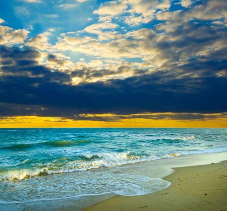 Beautiful sunset over tropical sea. photo