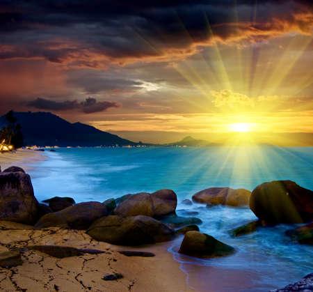 beach sunrise: Ggorgeous sea at the sunset.  Stock Photo