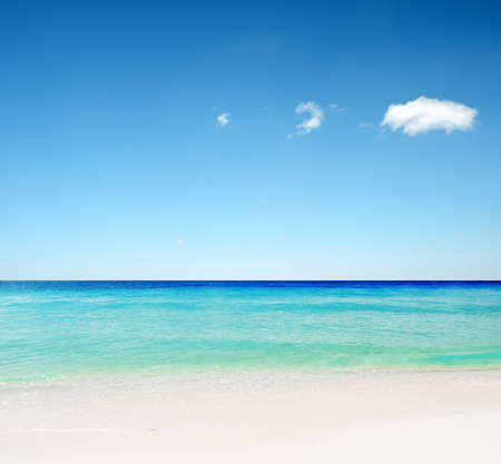 tranquil scene: Tropical white sand beach and blue sky. Stock Photo