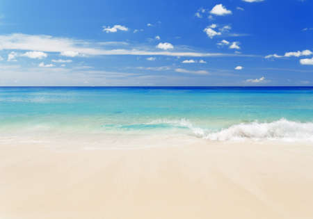beach: Tropical white sand beach and blue sky. Stock Photo