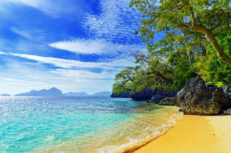 tropical beaches: Paradise beach. Sea and sky. Stock Photo