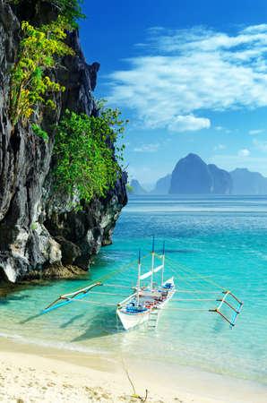 tropical island: Paradise beach. Sea and sky. Stock Photo
