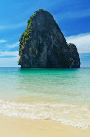 railay: Tropical sea landscape. Thailand, Krabi, Railay beach.