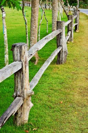 picket green: Wooden fence on green field
