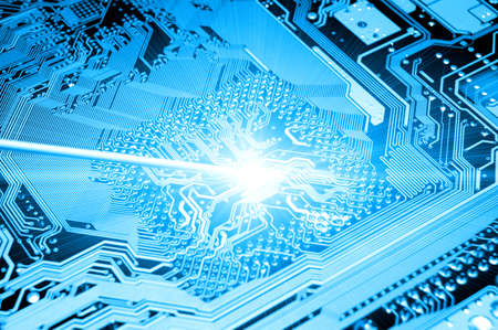 cpu: blue circuit board. high technolgy abstract Stock Photo