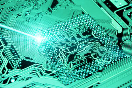 blue circuit board. high technolgy abstract photo