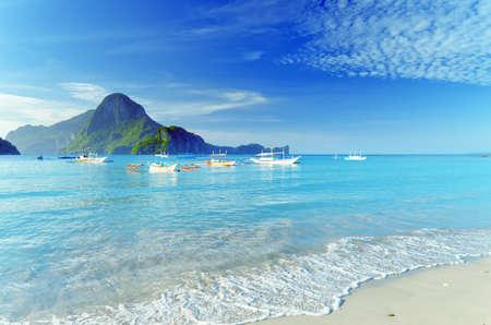 waves beach: Paradise beach. Sea and sky. Stock Photo