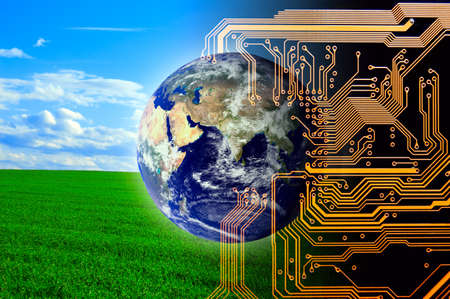 communicatie: Natuur en technologie. Concept van de toekomst.