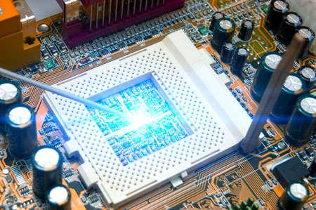 technolgy: blue circuit board. high technolgy abstract Stock Photo