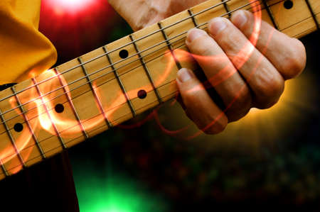 abstract expression guitar player on stage Stock Photo - 10034845