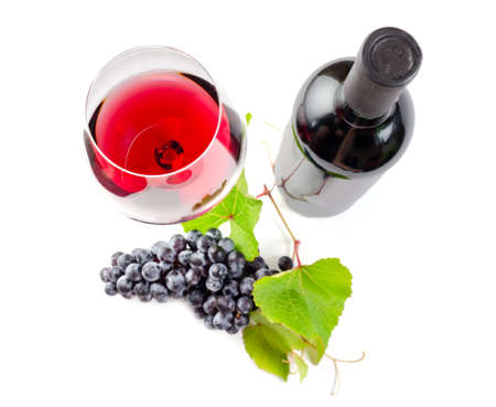 purple red grapes: Red wine on withe background. Stock Photo