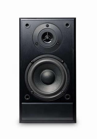 sub woofer: Black sound speaker on white background. Stock Photo