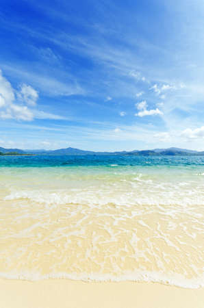 getting away from it all: Paradise beach. Sea and sky. Stock Photo