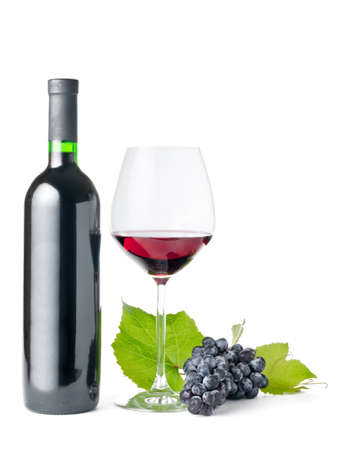 green glass bottle: Red wine on withe background. Stock Photo