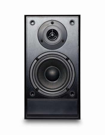 equipo de sonido: Altavoz sonido negro sobre fondo blanco. Foto de archivo