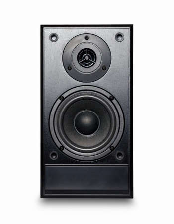 audio speaker: Black sound speaker on white background. Stock Photo