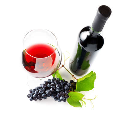 withe: Red wine on withe background. Stock Photo