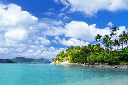 tropical island: Beautiful tropical seascape. Sky and sea. Stock Photo