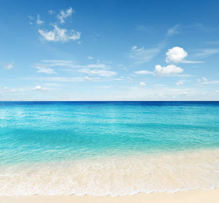 caribbean island: Tropical beach. Sky and sea. Stock Photo