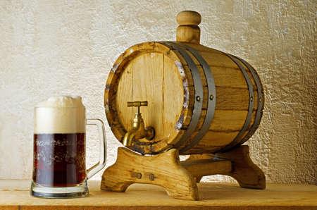 pale wood: Dark beer on the table.