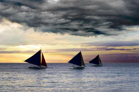 Sailboats under the stormy sky. Reklamní fotografie - 10884608