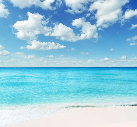 sea horizon: Tropical beach. Sky and sea. Stock Photo