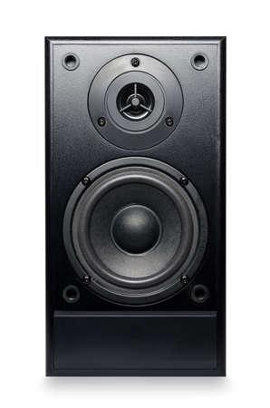 Black sound speaker on white background. Stock Photo