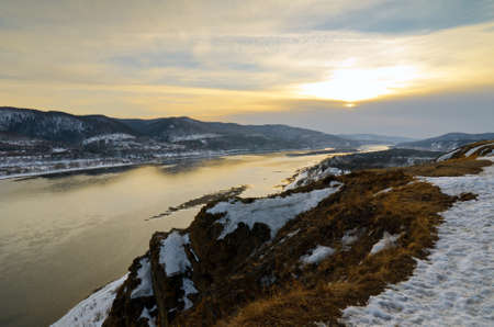 Winter landscape. Mountains and river. Stock Photo - 11148570