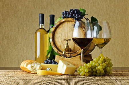 still life of wine: Wine and cheese on the table