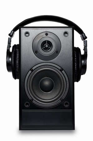 party system: Black sound speaker on white background. Stock Photo