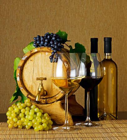 Wine stillife on the table.
