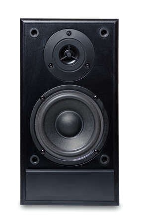 Black sound speaker on white background. photo