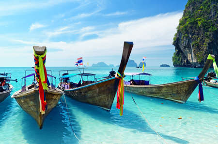 thailand view: Clear water and blue sky. Krabi province, Thailand.