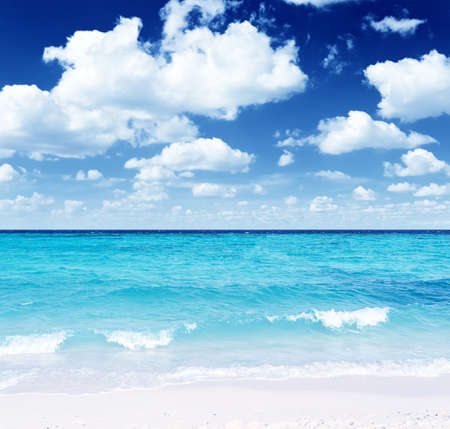 Tropical beach  Blue sky and clear water  photo