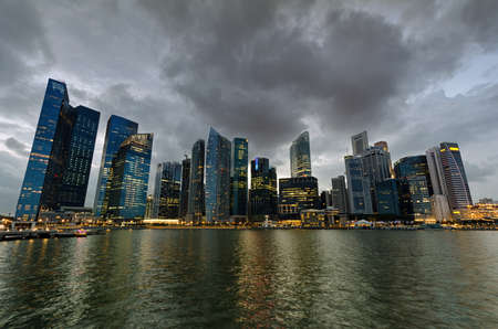 Singapore skyscrapers in downtown at evening time