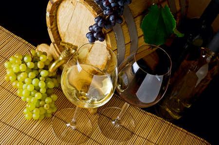 stillife: Wine stillife on the table.