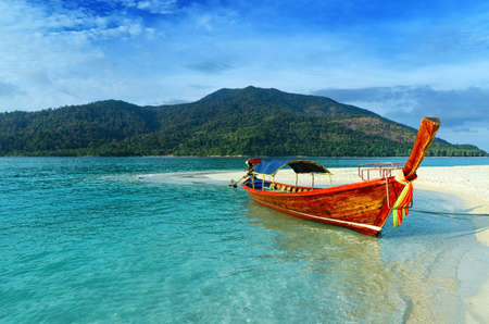 long tail: Clear water and blue sky  Lipe island, Thailand  Stock Photo