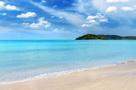 langkawi: Blue sky and clear water at Langkawi beach, Malaysia