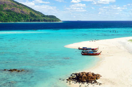 Clear water and blue sky  Lipe island, Thailand  Stock Photo