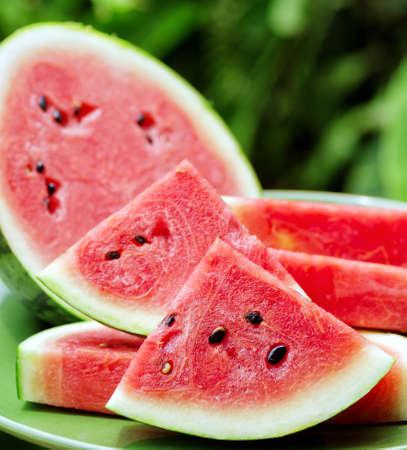 Sliced watermelon on a plate.