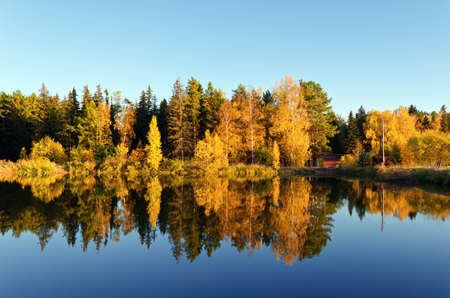 Autumn forest and lake in the fall season. Stock Photo - 14398575