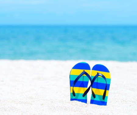 Flip flops on a tropical beach Stock Photo - 14475581