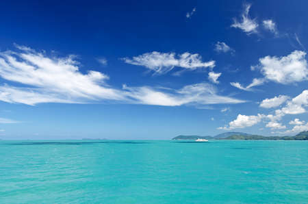 horizon reflection: Beautiful tropical sea under the blue sky.