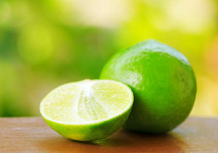Green lime in a garden. Shallow DOF. photo